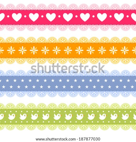 Cute seamless border with lace set - stock vector