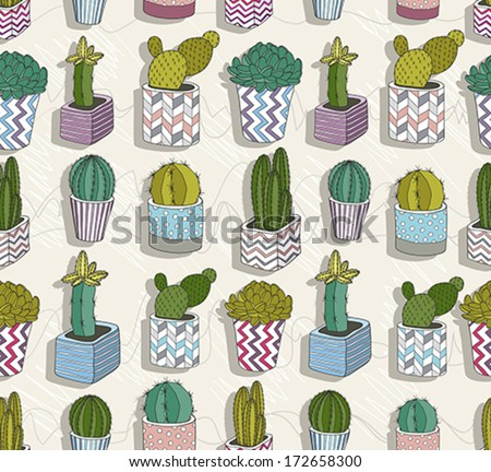 Cute seamless cactus pattern - stock vector