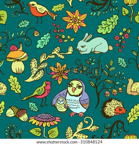 Cute seamless colorful pattern with owls, birds, flowers and forest animals. Vector illustration.  - stock vector