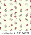 Cute seamless doodle pattern - stock vector