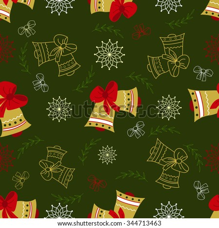 Cute seamless doodle pattern with Christmas bell. Christmas and New Year wallpaper, background, textile, wrapper.