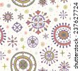 Cute seamless doodle pattern with decorative snowflakes. Endless ornamental colorful texture for design and decoration textile, wrapping paper, accessories - stock vector