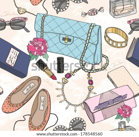 Cute seamless fashion pattern for girls or woman - stock vector