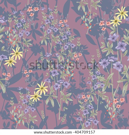 Cute seamless floral pattern. Background  with flowers. Vector illustration.