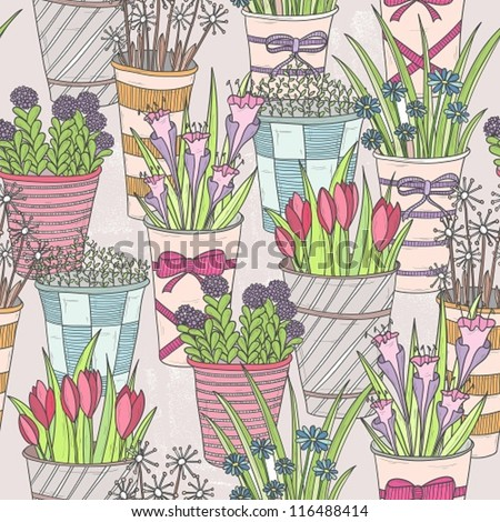 Cute seamless floral pattern. Pattern with flowers in buckets. - stock vector