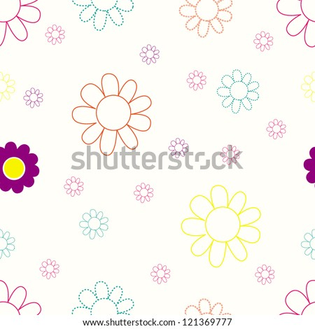 Cute seamless flower pattern/Vector illustration