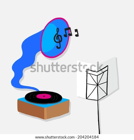 Cute seamless icon with musical notes, gramophone, hand drawing - stock vector