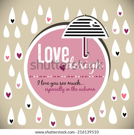 Cute seamless love rain,rain drops.  - stock vector