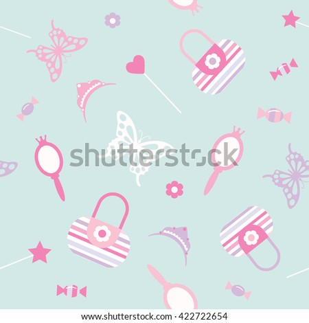 Cute seamless pattern background. Girly.