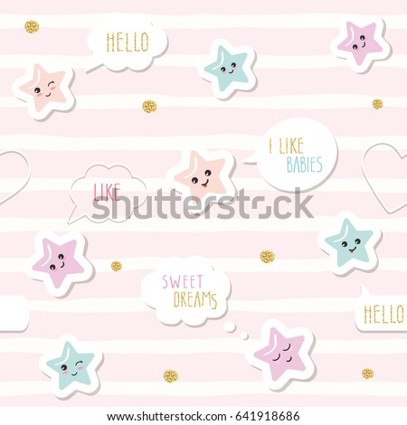 Cute Seamless Pattern Background With Cartoon Kawaii Stars And Speech  Bubbles. For Little Girls Babies