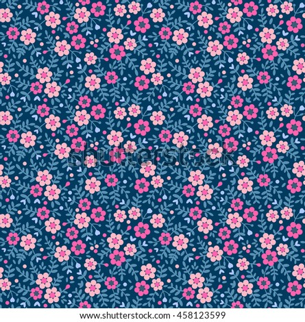 Cute seamless pattern small flower small stock vector 458123599 cute seamless pattern in small flower small pink flowers dark blue background ditsy mightylinksfo