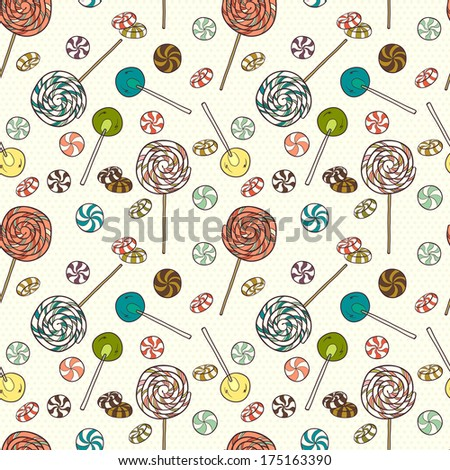 Cute seamless pattern made of hand drawn doodle caramel candies and lollipops on polka dot background. Cartoon sweets background. - stock vector