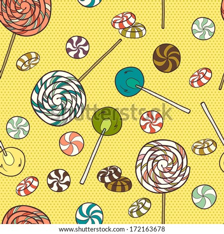 Cute seamless pattern made of hand drawn doodle caramel candies on polka dot background. Cartoon sweets background. - stock vector