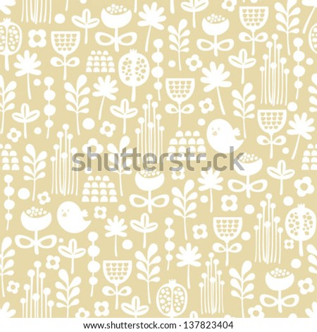 Cute seamless pattern of cartoon birds and flora. Vector background.