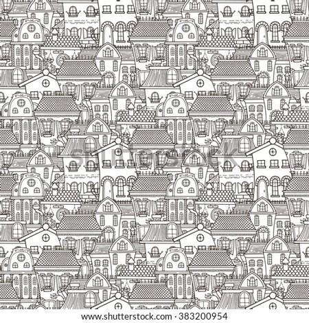 Cute seamless pattern of doodle houses. Elegant sketch. - stock vector