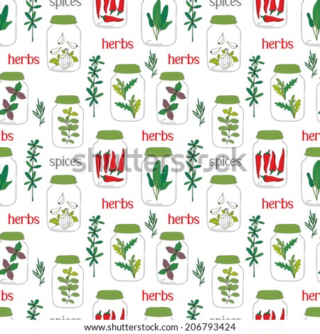 Cute seamless pattern of hand drawn herbal sketch. Herbs and spices. - stock vector