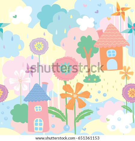 Cute Seamless Pattern Wallpaper Of House Flower And Tree Decorated With Pinwheel On Natural Background