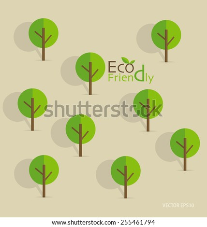 """Cute seamless pattern with abstract trees and word """"Eco friendly"""" - stock vector"""