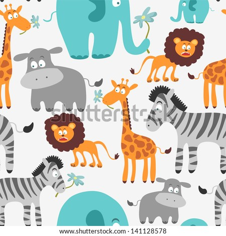 Cute seamless pattern with African animals - stock vector