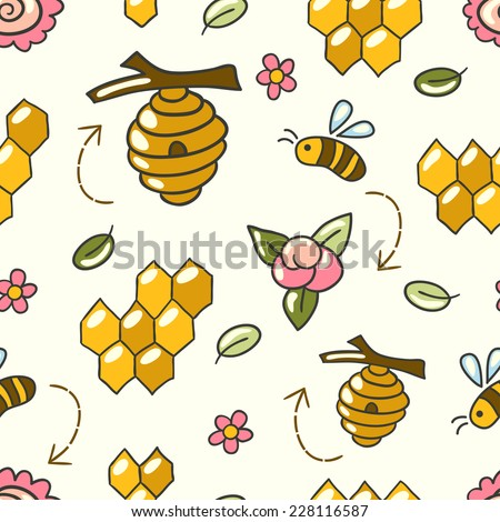 Cute seamless pattern with bees, honey, flowers and beehive. Honey bees in a honeycomb.