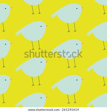 Cute seamless pattern with birds in pastel colors. Lovely birds background in cartoon style. Cute background for kids - stock vector