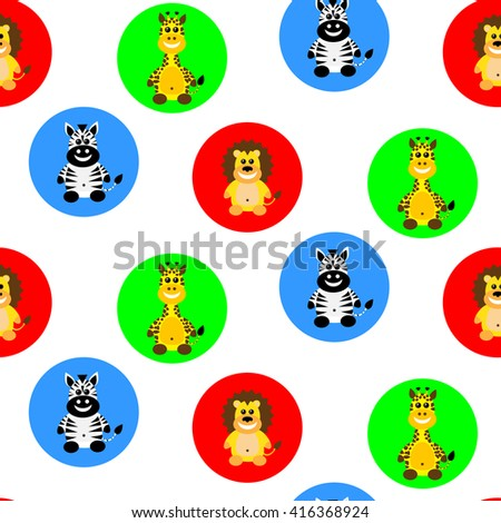Cute seamless pattern with cartoon animals avatars. Vector illustration suitable for kids wrapping, poster, wallpaper. Animals in color circles in white background. Flat design - stock vector