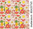 Cute seamless pattern with children's doodle, hand drawn summer background. Fruits and flowers endless texture. - stock