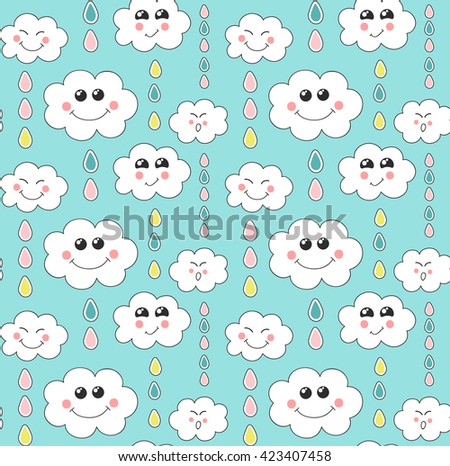 Cute seamless pattern with cloud and rain drop on blue background. Vector illustration. Design for kids.   - stock vector