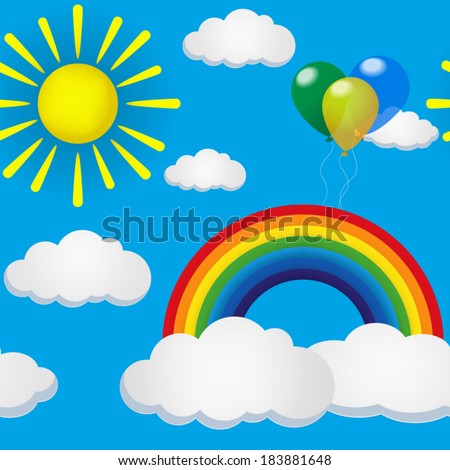 Cute seamless pattern with cloud, sun and rainbow. Design for kids. Vector illustration