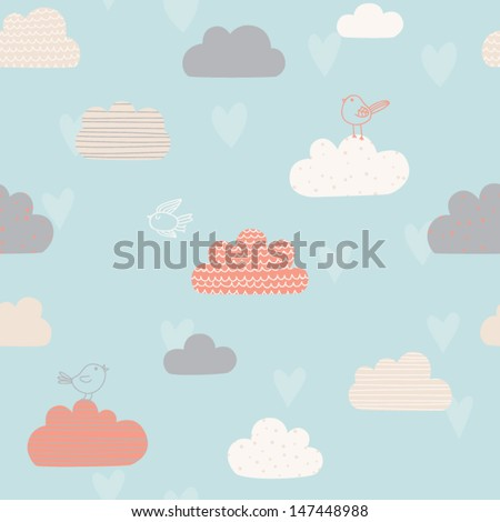 Cute seamless pattern with clouds, hearts and birds. Design for kids. Vector illustration - stock vector