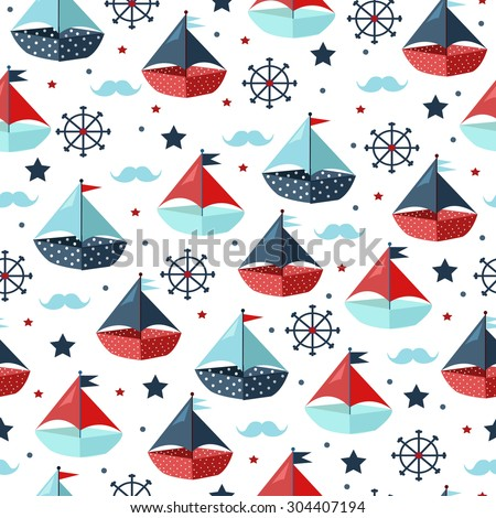 Cute seamless pattern with color paper boats. Vector illustration - stock vector