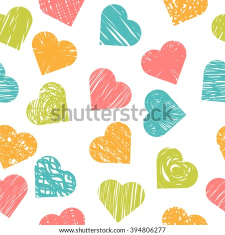 Cute seamless pattern with colorful hearts. Stylish print with hand drawn hearts. Vector illustration