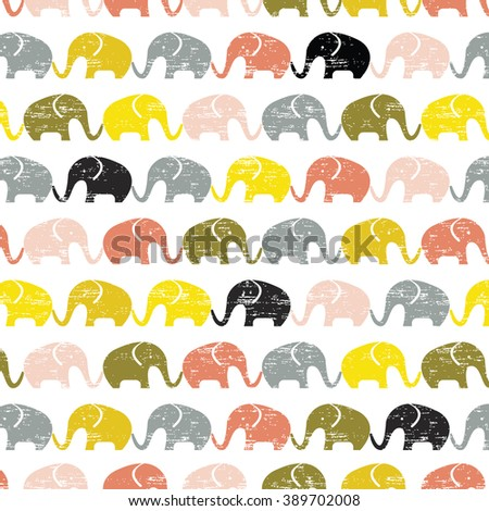 Cute seamless pattern with elephants, Cute seamless elephant vector Flat vector silhouette Ethnic elephant seamless pattern Seamless vector pattern with elephants. Can be used for textile, packaging. - stock vector