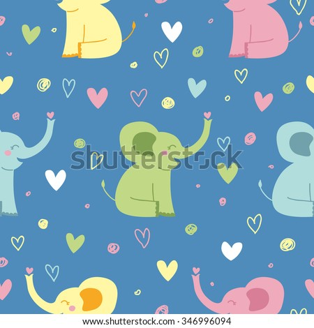 Cute seamless pattern with elephants in pastel colors. Kids illustration. - stock vector