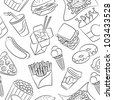 Cute seamless pattern with fast food - stock vector