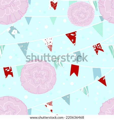 cute seamless pattern with flag garlands and paper pom poms - stock vector