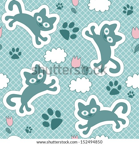 Cute seamless pattern with floating kittens - stock vector