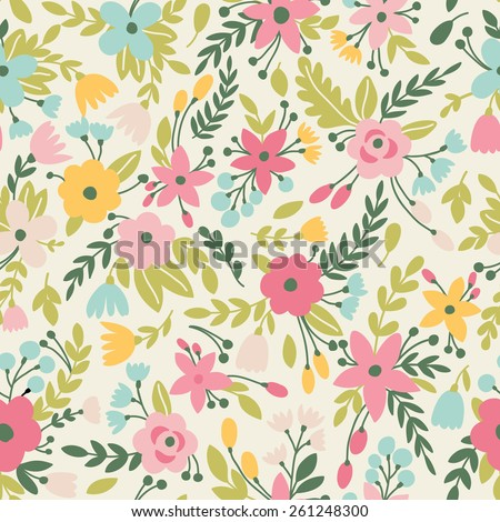 Cute seamless pattern with flowers. Can be used for summer backgrounds - stock vector
