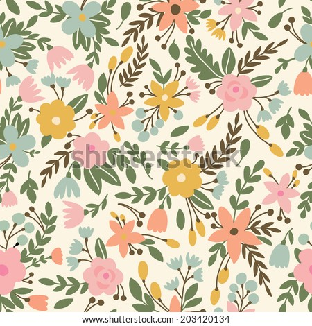 Cute seamless pattern with flowers in vector. Can be used for summer backgrounds - stock vector