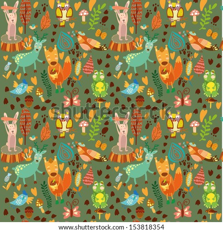 Cute seamless pattern with forest animals.Owl,squirrel, deer, nightingale, frog, rabbit.  - stock vector