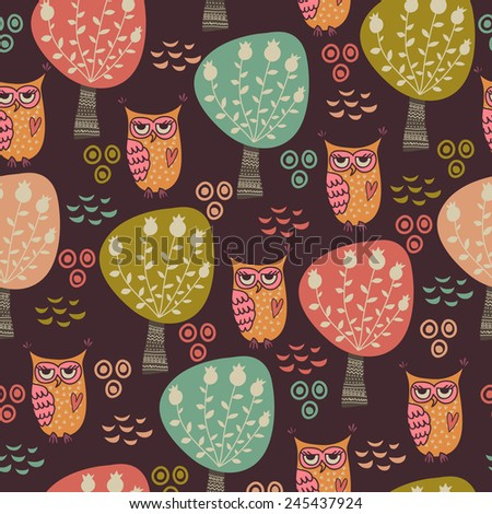 Cute seamless pattern with forest owls, mushrooms and trees. Children's cartoon illustration vector - stock vector