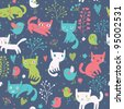 Cute seamless pattern with funny cats and birds - stock vector