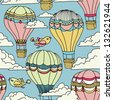 Cute seamless pattern with hot air balloons, birds and clouds - stock vector