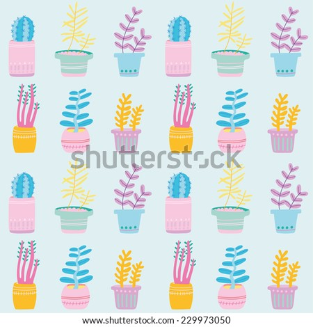 Cute seamless pattern with house plants in pots. Cute floral ornament in cartoon style. - stock vector