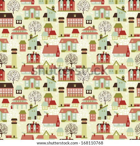 Cute seamless pattern with houses and trees, vector illustration - stock vector