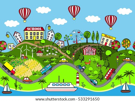 Cute seamless pattern with houses, sea, roads, forest, wing turbines, gardens, cars, and attraction. Design for mats, books games and other kids development.