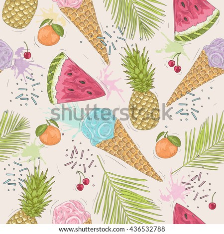 Cute seamless pattern with ice creams, pineapples. Vector summer  background with sweets and fruit. - stock vector