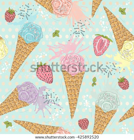 Cute seamless pattern with ice creams, strawberries and raspberries. Vector background with sweets. ice cream, ice cream, ice cream, ice cream, ice cream, ice cream, ice cream, ice cream, ice cream