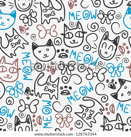 Cute seamless pattern with kitty doodles - stock vector
