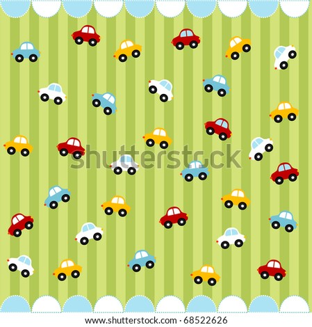 Cute seamless pattern with little cars , baby card - stock vector